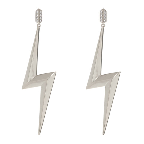 The Bolt Statement Earrings- Silver