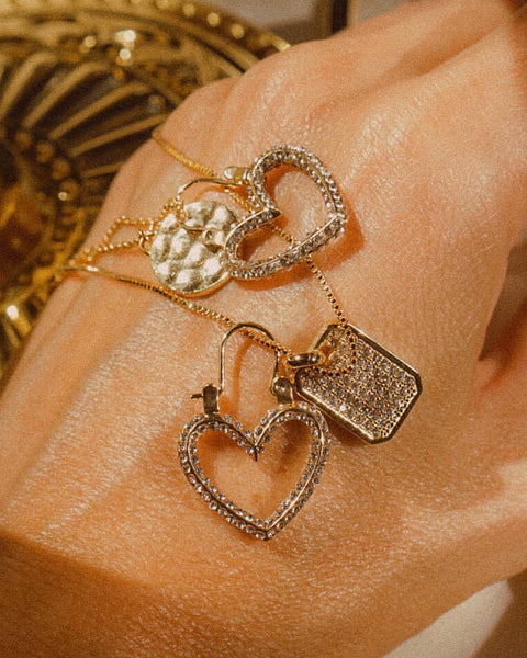 Pave Mini Heartbreaker Hoops- Gold (Ships Immediately)