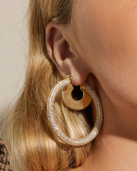 Pave Amalfi Hoops- Gold