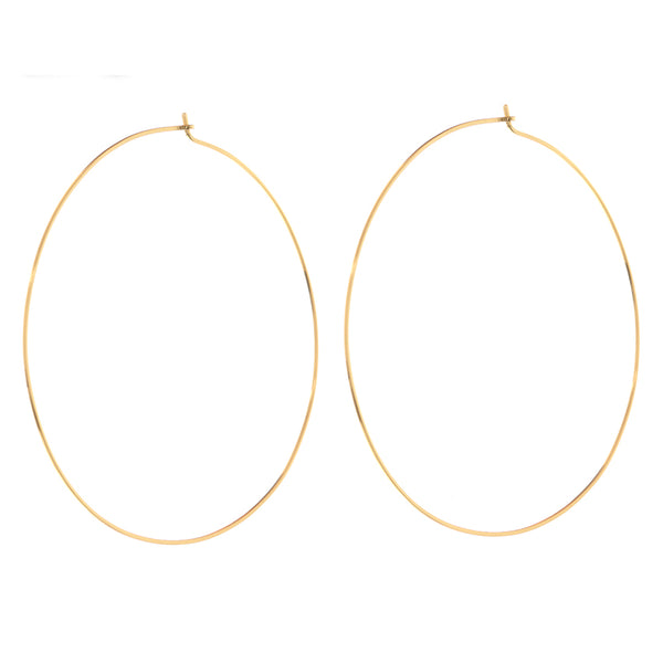 XL Capri Wire Hoops - Gold