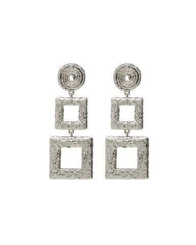 Ceaser Statement Earrings- Silver