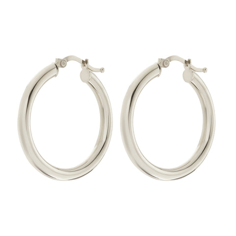 The Classic Tube Hoops- Real 14K White Gold
