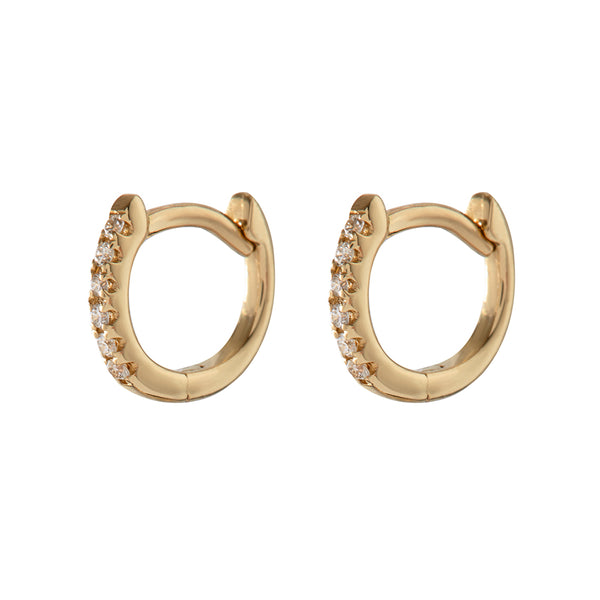The Classique Pavè Huggies- Real 14K Yellow Gold