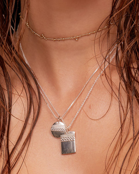 Marrakech Double Charm Necklace- Silver