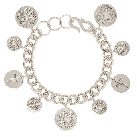 The Cross Coin Bracelet- Silver