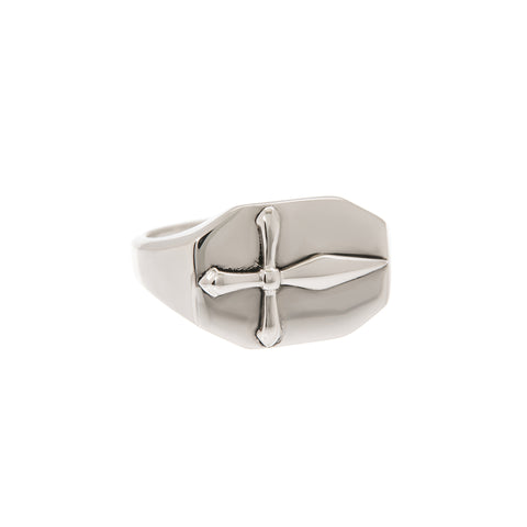 The Cross Signet Ring- Silver