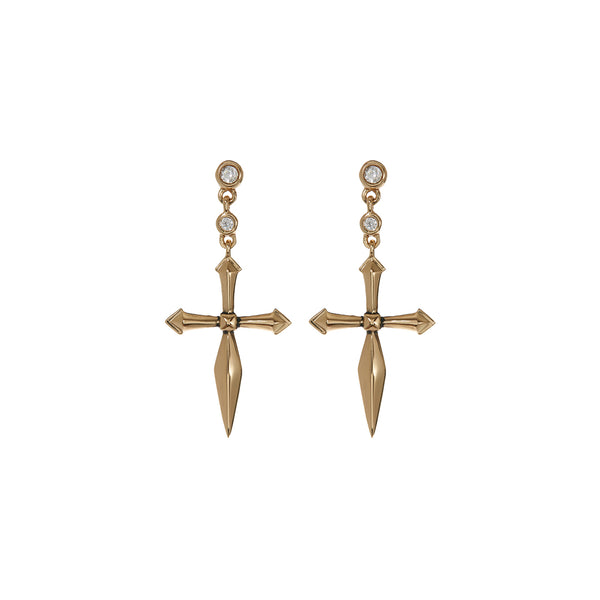 The Diamonte Cross Studs- Gold (Ships Early February)