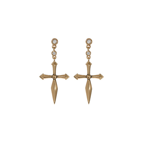 The Diamonte Cross Studs- Gold