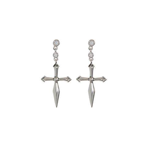 The Diamonte Cross Studs- Silver (Ships Early July)