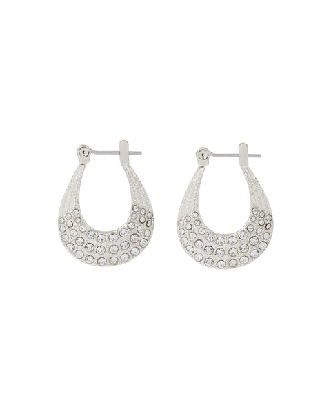 Diana Pave Hoops- Silver