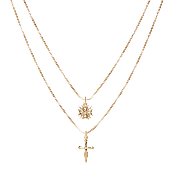 The Double Fleur Cross Necklace- Gold