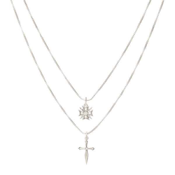The Double Fleur Cross Necklace- Silver
