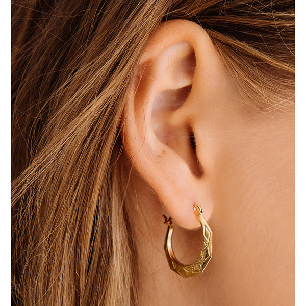 f09d6e9881807 The Etched U Hoops- Real 14K Yellow Gold