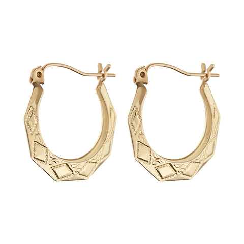 The Etched U Hoops- Real 14K Yellow Gold