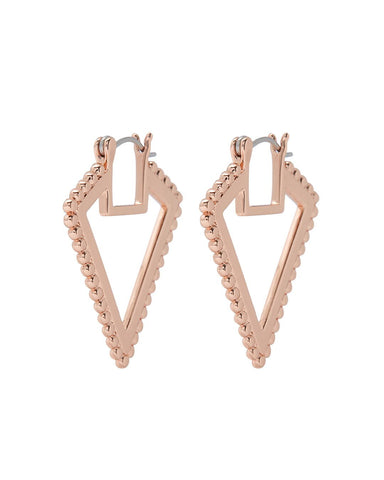 Beaded V Hoops- Rose Gold