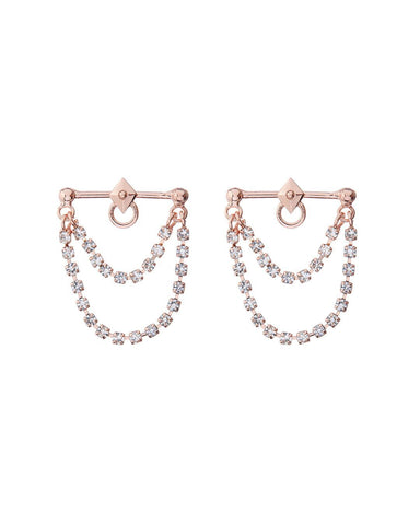 Punk Stud Diamonte Studs- Rose Gold