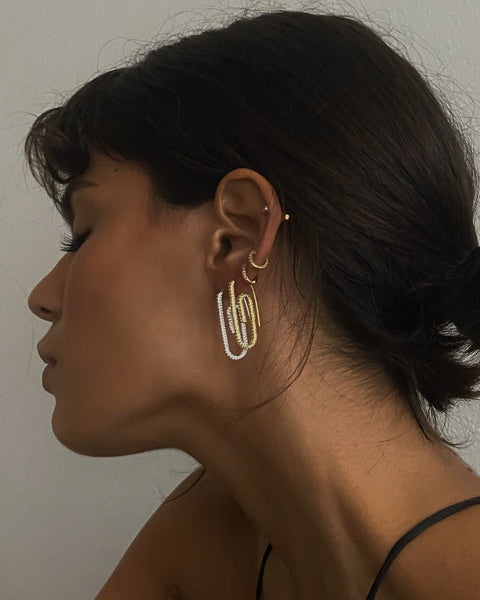 Pave Paper Clip Earrings- Gold (Ships Late May)