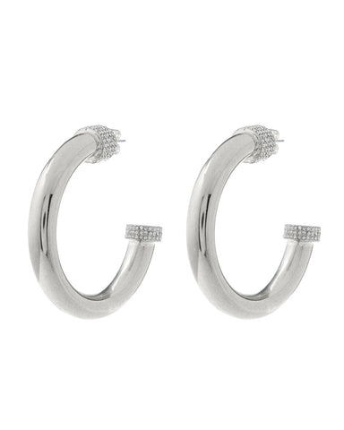 XL Pave Tip Tube Hoops- Silver