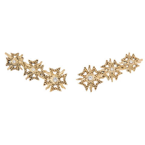 The Fleur Crawler Earrings- Gold