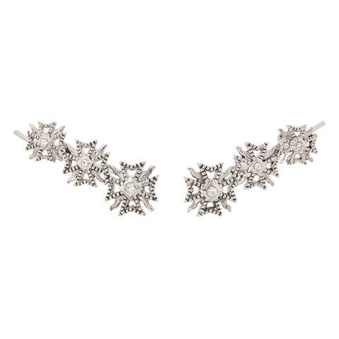 The Fleur Crawler Earrings- Silver