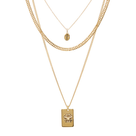 The Fleur Dog Tag Necklace- Gold