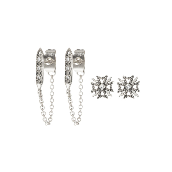The Fleur + Spike Studs Set- Silver