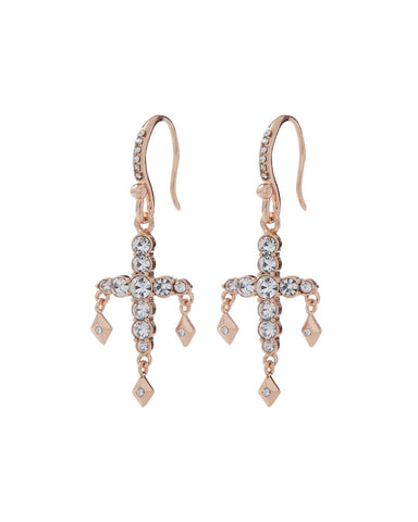 Diamonte Hook Earrings- Rose Gold