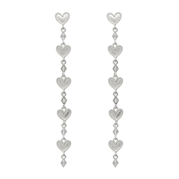 Dotted Heart Drop Studs- Silver