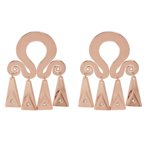 Spiral Statement Earrings- Rose Gold