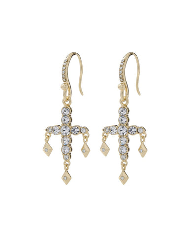 Diamonte Hook Earrings- Gold