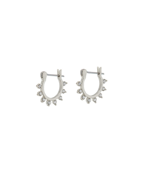 Gloria Diamonte Hoops- Silver