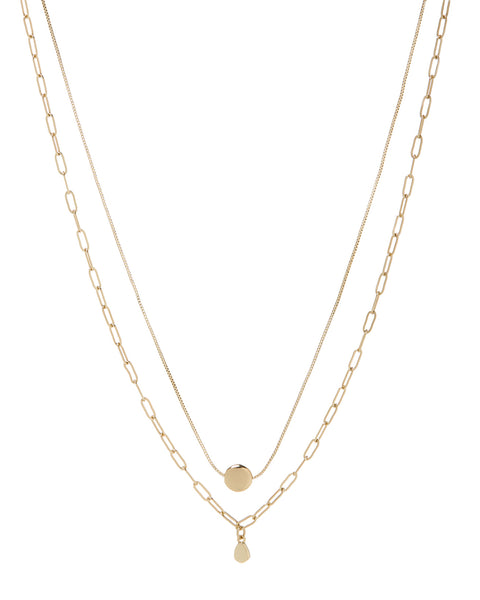 Golden Nugget Double Charm Necklace- Gold
