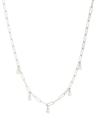 Golden Nugget Shaker Necklace- Silver