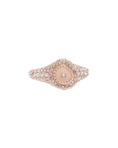 Pave Coin Signet Ring- Rose Gold