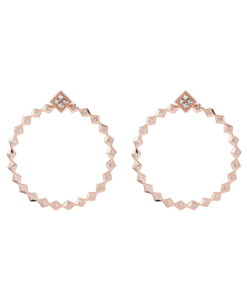 Diamond Kite Statement Hoops- Rose Gold