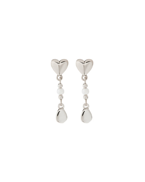 Hammered Heart + Pearl Studs- Silver