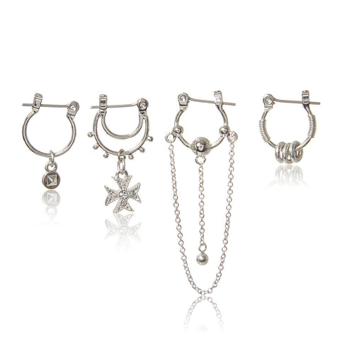Heli Hoop Huggies Set - Silver (Ships Late May)