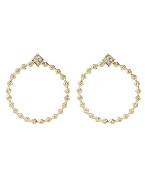 Diamond Kite Statement Hoops- Gold