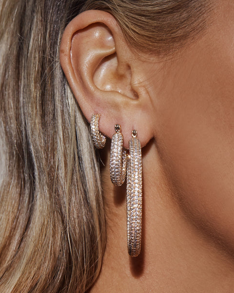Pave Baby Amalfi Hoops- Gold (Ships Immediately)