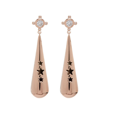 Pave Pendulum Earrings- Rose Gold