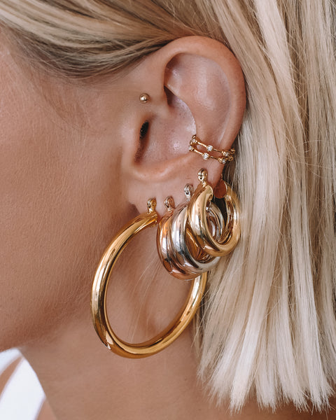 Pave Hex Ear Cuff - Gold