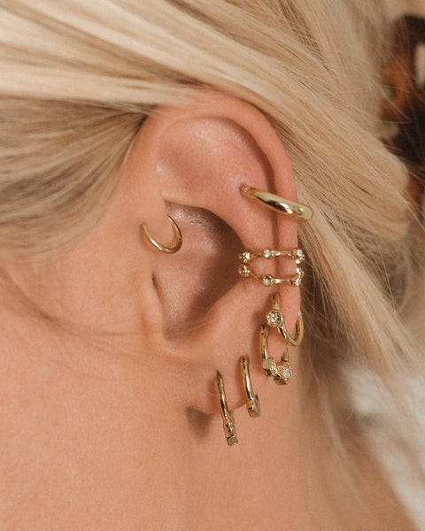 Full Bloom Hoop Earring Set- Gold (Ships Mid December)