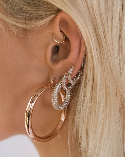 Pave Baby Amalfi Hoops- Rose Gold