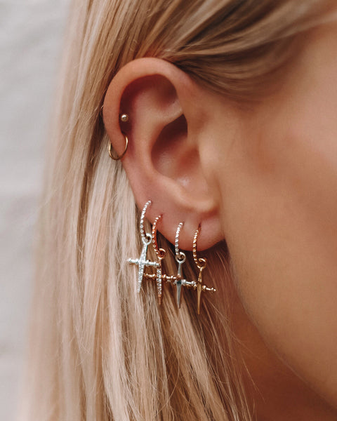 Pave Mini Cross Hoops- Rose Gold