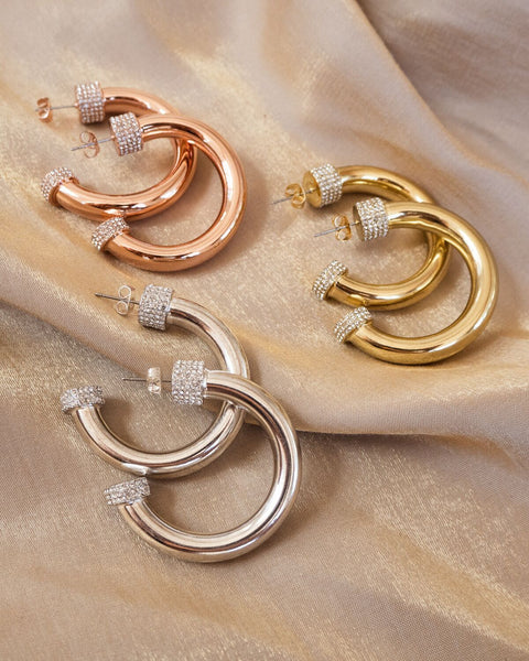 XL Pave Tip Tube Hoops- Rose Gold
