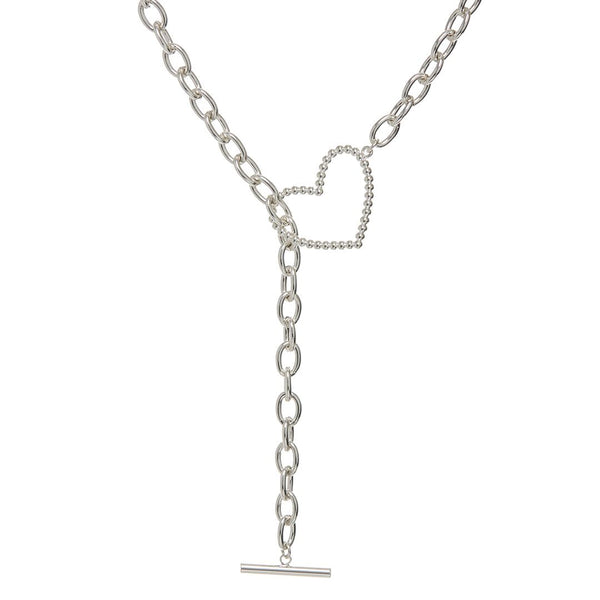 Heart + Chain Lariat- Silver
