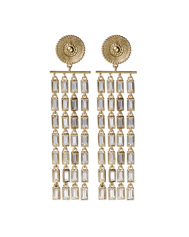 Baguette Drop Statement Earrings- Gold