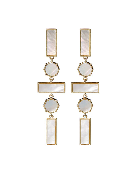 Mother of Pearl Mosaic Drop Earrings- Gold (Ships Early May)