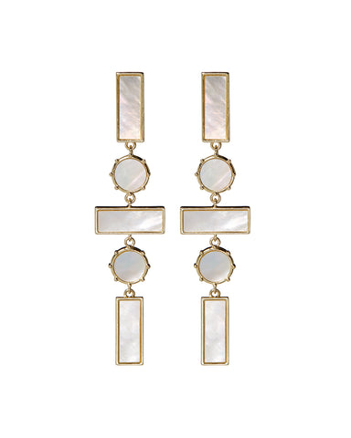 Mother of Pearl Mosaic Drop Earrings- Gold