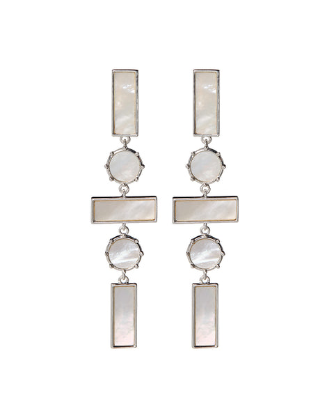 Mother of Pearl Mosaic Drop Earrings- Silver